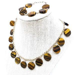 Tiger's Eye, sterling bracelet-necklace set, 67.8g